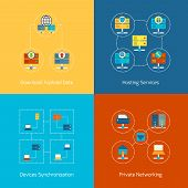 foto of mainframe  - Business concept flat icons set of hosting computer network internet technology infographic design elements vector illustration - JPG