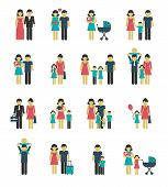 image of married  - Family figures icons set of parents children married couple isolated vector illustration - JPG