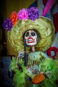 foto of day dead skull  - La Calavera Catrina traditional personage of Mexican Day of the Dead - JPG