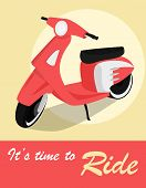 stock photo of scooter  - Vintage card of scooter in retro style - JPG