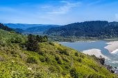 picture of klamath  - Klamath River end at the Pacific Ocean viwe form the Klamath overview in Klamath California - JPG