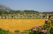 stock photo of aqueduct  - Roman aqueduct near Manavgat Side in Turkey - JPG