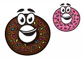 foto of pie-in-face  - Cute happy doughnuts with smiling faces decorated with colorful sprinkles in chocolate and pink icing - JPG