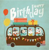 foto of bus driver  - Vintage birthday card - JPG