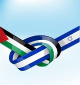 stock photo of israel israeli jew jewish  - palestine and israel ribbon flag on sky background - JPG