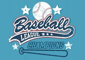 stock photo of baseball bat  - Baseball league champions on a light blue background - JPG