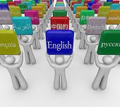 stock photo of dialect  - International or foreign languages on signs held by people sharing culture and translating - JPG