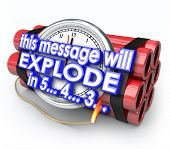 foto of time-bomb  - This Message Will Explode in 5 seconds words time bomb countdown deadline - JPG