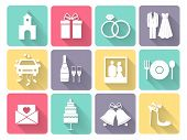 foto of chapels  - Wedding and love celebration icons set with chapel - JPG