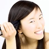stock photo of shaved head  - Cute asian woman shaving side of head - JPG