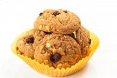 stock photo of baked raisin cookies  - Freshly delicious baked oatmeal raisin cookies - JPG