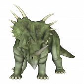foto of enormous  - 3D digital render of a dinosaur Styracosaurus or spiked lizard a genus of herbivorous ceratopsian dinosaur from the Cretaceous Period  - JPG