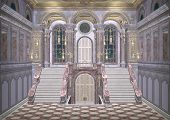 stock photo of royal palace  - 3D digital render of a beautiful royal fairy tale palace entrance - JPG