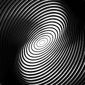 foto of distort  - Design monochrome whirl circular motion background - JPG