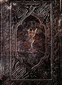 foto of chalice antique  - Cover of an old book with the Holy Grail - JPG