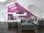 image of apex  - Modern apartment living room interior with a purple accent wall and sloping ceiling with skylights above a parquet floor and modern grey lounge suite with wall cabinets and television - JPG
