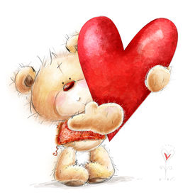 pic of sympathy  - Teddy bear with the big red heart - JPG