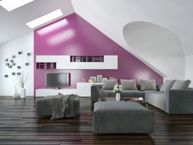 picture of apex  - Modern apartment living room interior with a purple accent wall and sloping ceiling with skylights above a parquet floor and modern grey lounge suite with wall cabinets and television - JPG