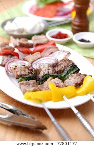 Skewered Fresh Meat With Vegetable