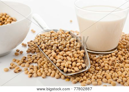 Soy Milk In Glass With Soybeans And  Transfer Scoop