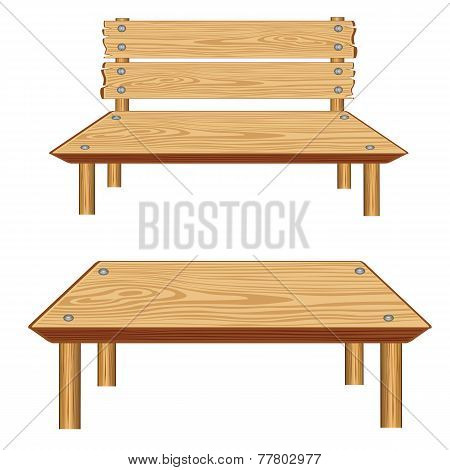 Table and bench from tree