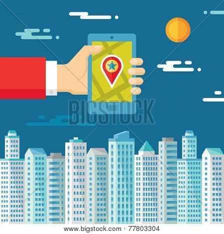 Smartphone with map & location in human hand - flat style
