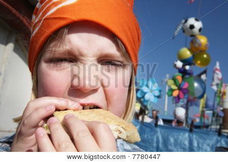 Child Eat Lunch Burger