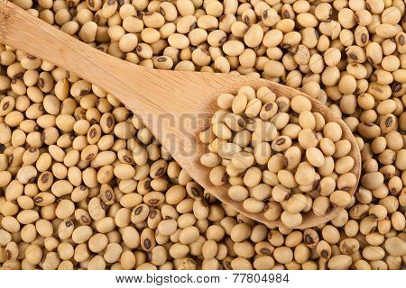 Soybeans With Wooden Spoon