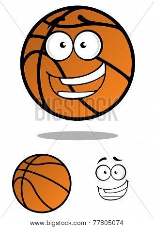 Cartooned basketball ball with smiling face