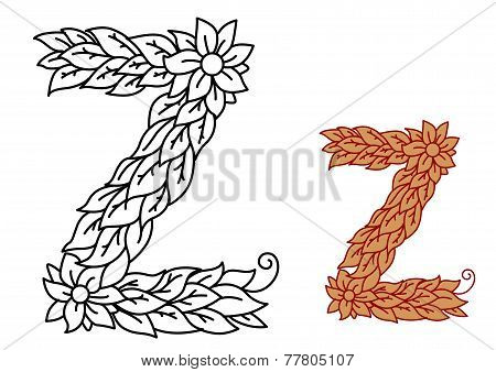 Uppercase letter Z in a foliate font with leaves