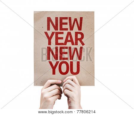New Year New You card isolated on white background