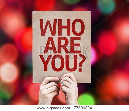 Who Are You? card with colorful background with defocused lights