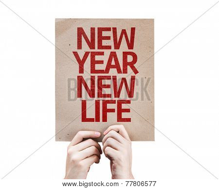 New Year New Life card isolated on white background