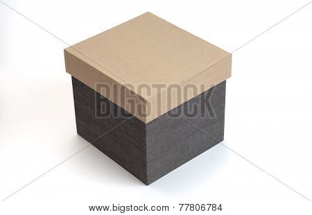 A home storage container box made with hard paper. Closed box image on white background.