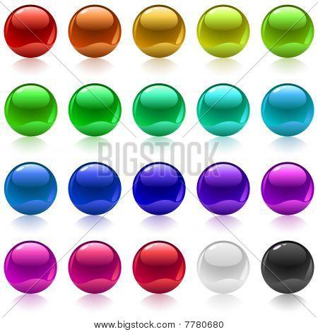 Glossy metallic spheres.