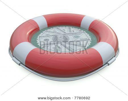 SOS life belt and dollars