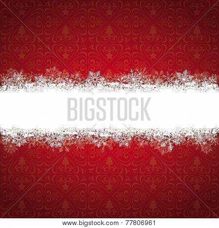 Red Ornaments Snowflakes Banner