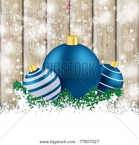 Snowfall Ash Wooden Background Blue Baubles