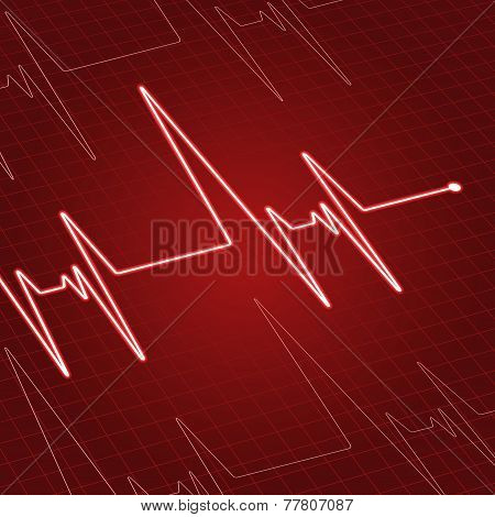 Close up heartbeat on screen