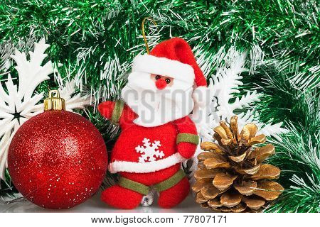 Santa Claus With Christmas Red Ball, Bump And White Snowflakes