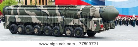MOSCOW - 6 May 2010: Topol-M -  intercontinental ballistic missiles. Dress rehearsal of Military Parade on 65th anniversary of Victory in Great Patriotic War on May 6,