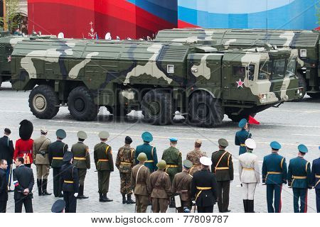 MOSCOW - 6 May 2010: Iskander - Tactical ballistic missile. Dress rehearsal of Military Parade on 65th anniversary of Victory in Great Patriotic War on May 6, 2010 on Red Square in Moscow, Russia