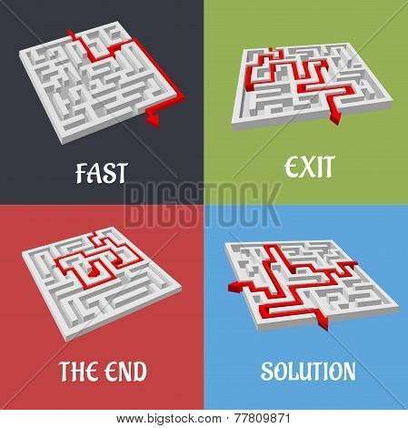 Labyrinth puzzles with solutions