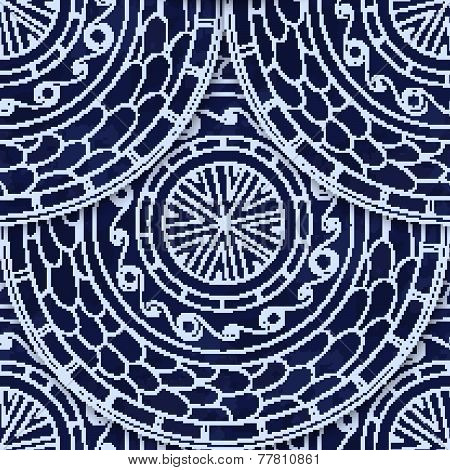 Seamless pattern in fish scale design.