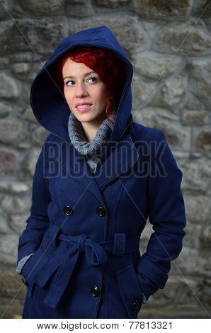 Redhead Girl In Blue Coat