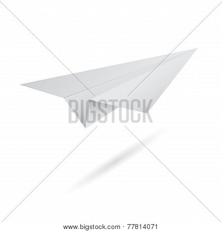 Vector illustration of origami flying paper airplane on white background. Abstract aircraft with sha