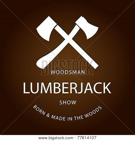 Card of vintage lumberjack label, emblem and design elements. Vector illustration poster or logo. EP