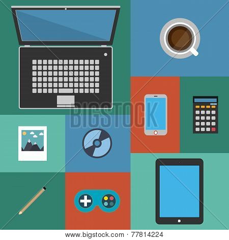 Flat design icons set modern style vector illustration of trendy everyday objects, office supplies a