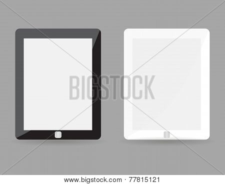 Two realistic tablet pc concept - black and white with blank screen. Highly detailed responsive real