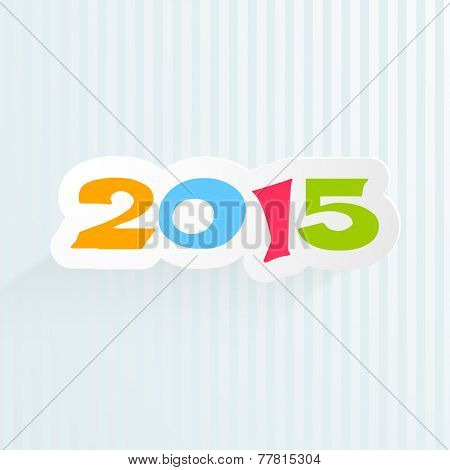 Merry Christmas and Happy New Year celebrations with sticky design of colorful text 2015 on stylish sky blue background.